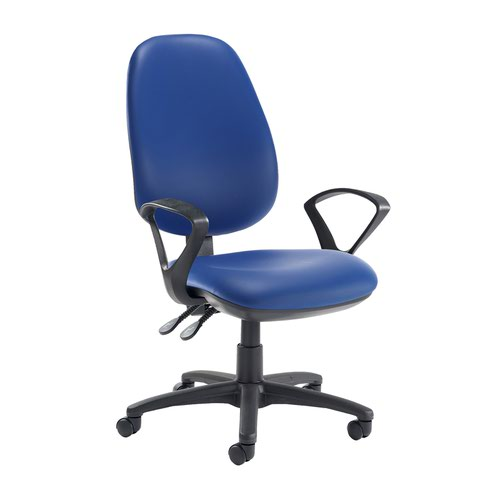 Jota extra high back operator chair with fixed arms - Ocean Blue vinyl