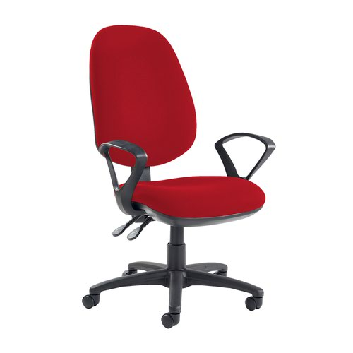 Jota extra high back operator chair with fixed arms - Panama Red