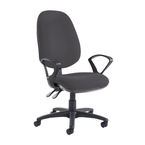 Jota extra high back operator chair with fixed arms - Blizzard Grey