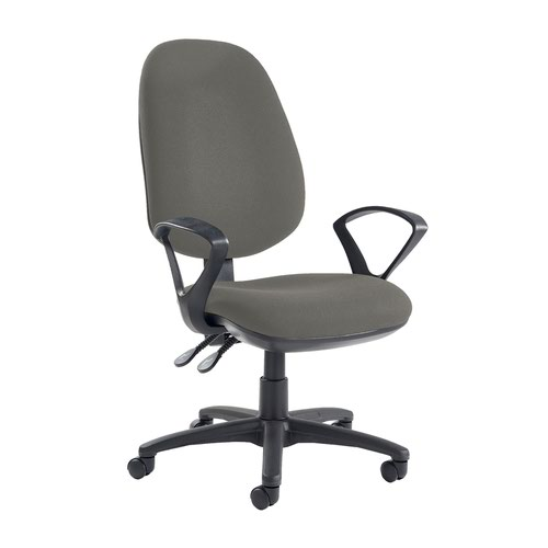 Jota extra high back operator chair with fixed arms - Slip Grey