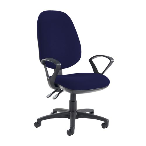 Jota extra high back operator chair with fixed arms - Ocean Blue Office Chairs JX43-000-YS100
