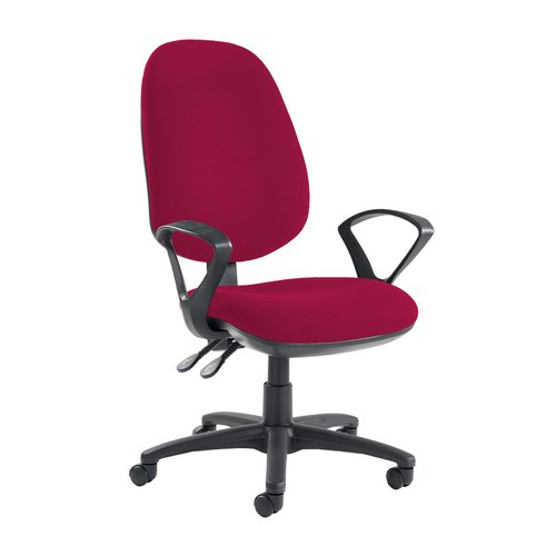 Jota extra high back operator chair with fixed arms - Diablo Pink