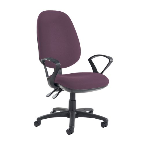Jota extra high back operator chair with fixed arms - Bridgetown Purple