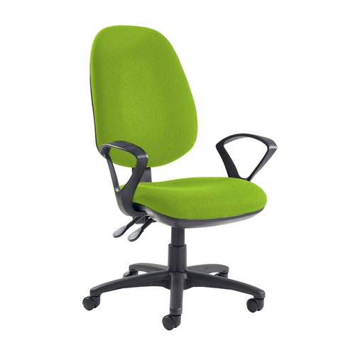 Jota extra high back operator chair with fixed arms - Madura Green