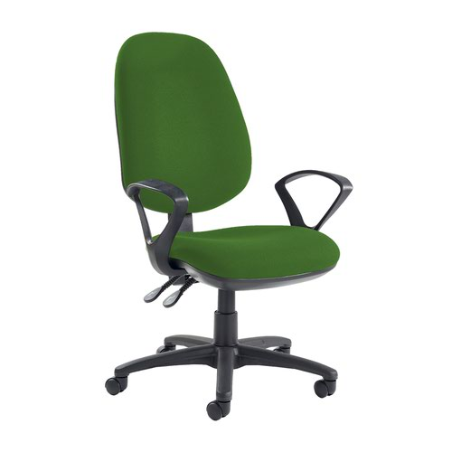 Jota extra high back operator chair with fixed arms - Lombok Green