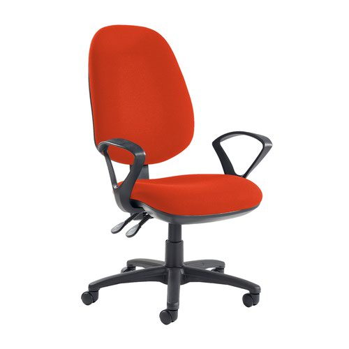 Jota extra high back operator chair with fixed arms - Tortuga Orange