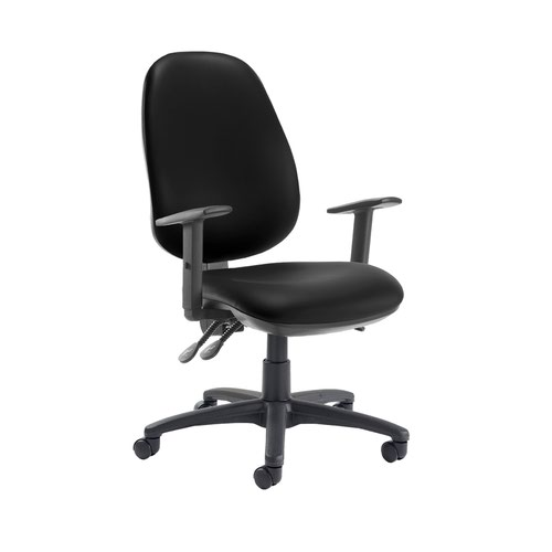 Jota extra high back operator chair with adjustable arms - Nero Black vinyl