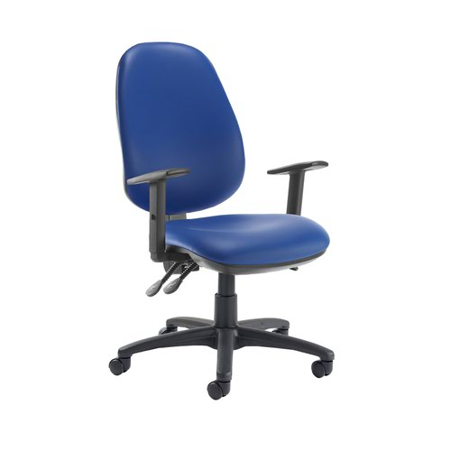 Jota extra high back operator chair with adjustable arms - Ocean Blue vinyl