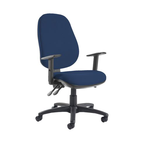 Jota extra high back operator chair with adjustable arms - Costa Blue