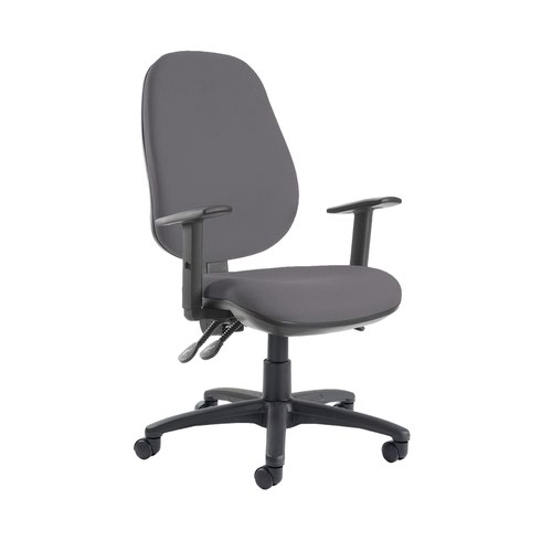 Jota extra high back operator chair with adjustable arms - Blizzard Grey