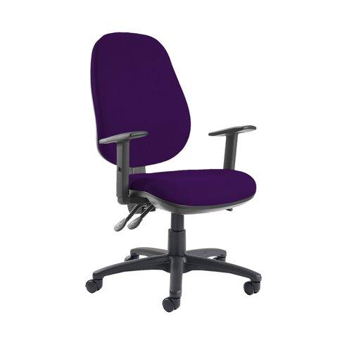 Jota extra high back operator chair with adjustable arms - Tarot Purple