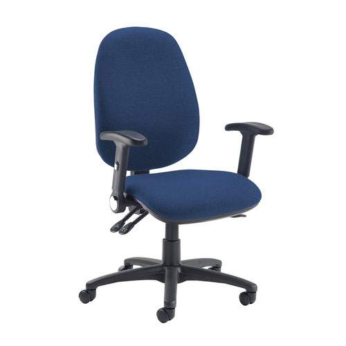 Jota extra high back operator chair with folding arms - Costa Blue