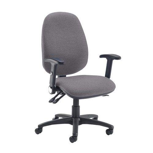 Jota extra high back operator chair with folding arms - Blizzard Grey