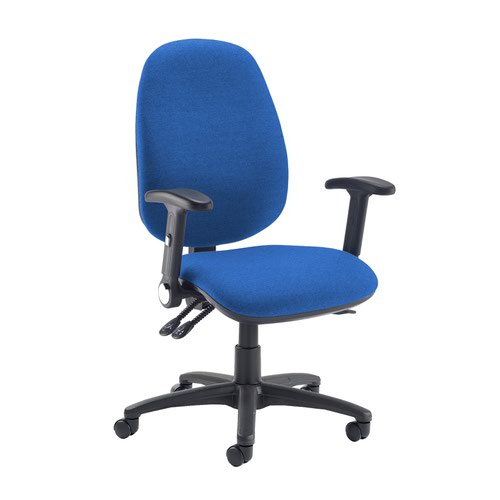 Jota extra high back operator chair with folding arms - Scuba Blue