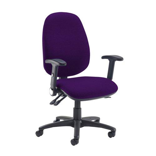 Jota extra high back operator chair with folding arms - Tarot Purple