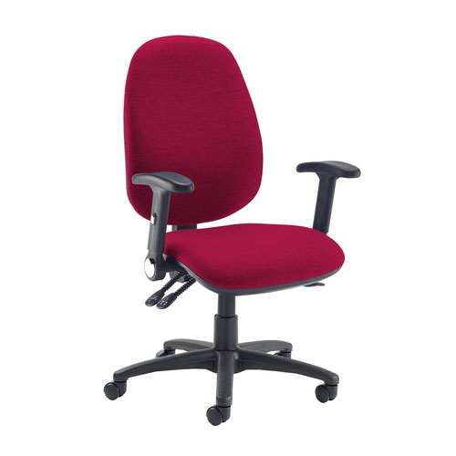Jota extra high back operator chair with folding arms - Diablo Pink