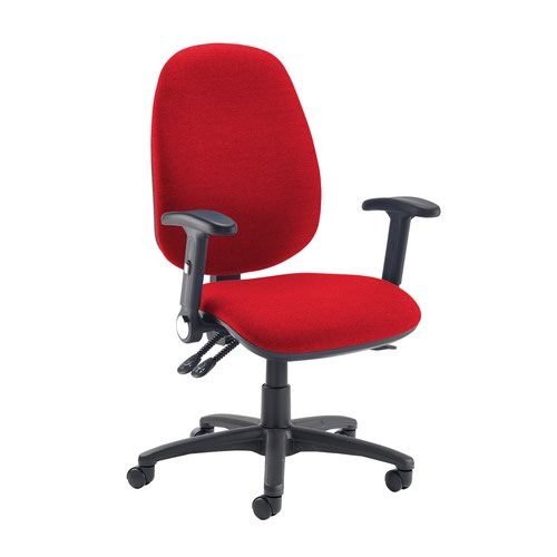 Jota extra high back operator chair with folding arms - Belize Red
