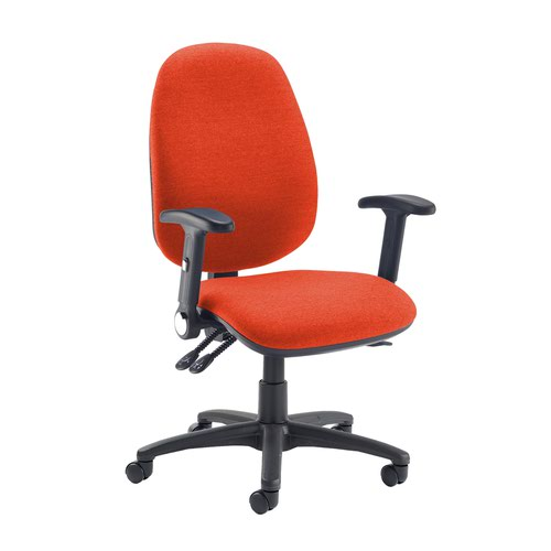 Jota extra high back operator chair with folding arms - Tortuga Orange