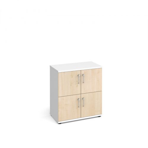 Wooden storage lockers 4 door - white with maple doors