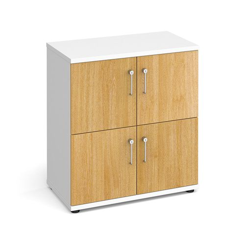 Wooden storage lockers 4 door - white with oak doors