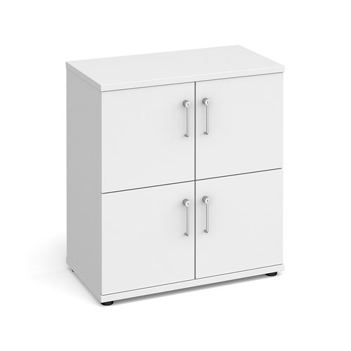 Wooden storage lockers 4 door - white with white doors