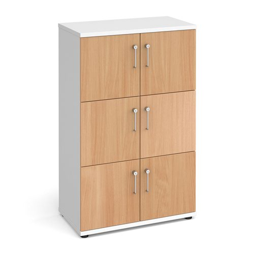 Wooden storage lockers 6 door - white with beech doors