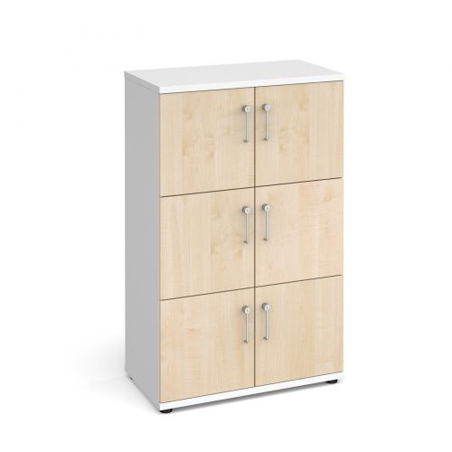 Wooden storage lockers 6 door - white with maple doors