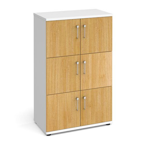 Wooden storage lockers 6 door - white with oak doors