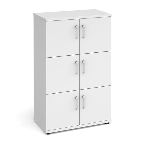 Wooden storage lockers 6 door - white with white doors