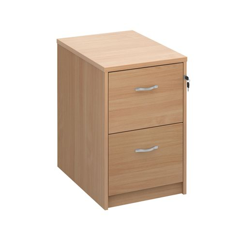 Wooden 2 drawer filing cabinet with silver handles 730mm high - beech