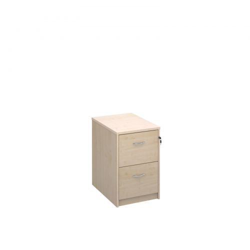 Wooden 2 drawer filing cabinet with silver handles 730mm high - maple