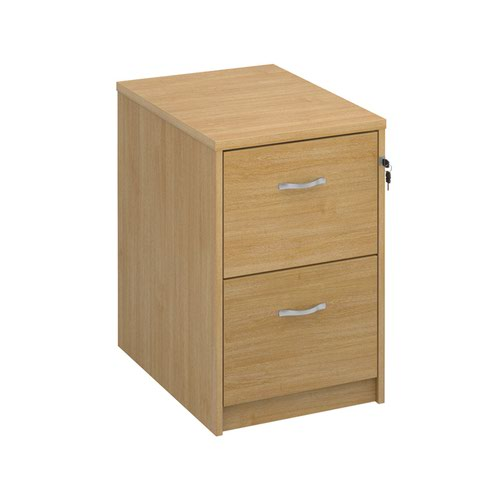 Wooden 2 drawer filing cabinet with silver handles 730mm high - oak