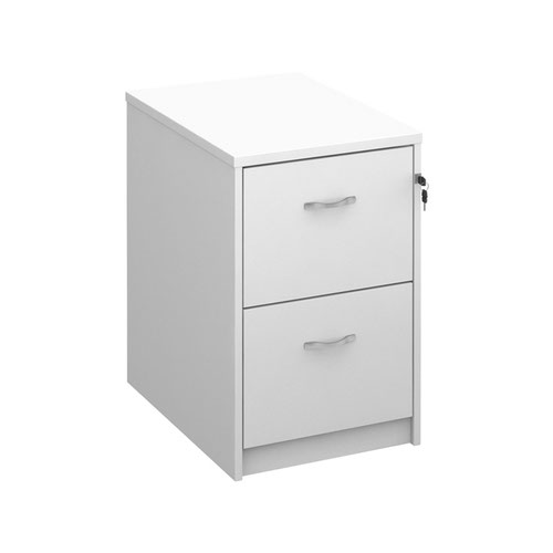 Wooden 2 drawer filing cabinet with silver handles 730mm high - white