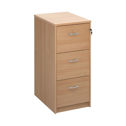 Wooden 3 drawer filing cabinet with silver handles 1045mm high - beech