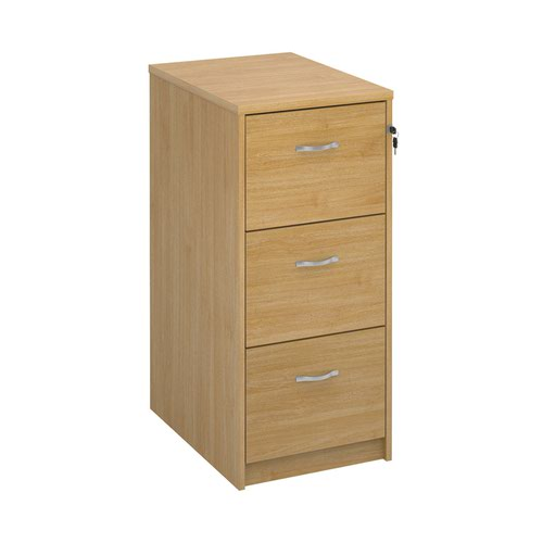 Wooden 3 drawer filing cabinet with silver handles 1045mm high - oak