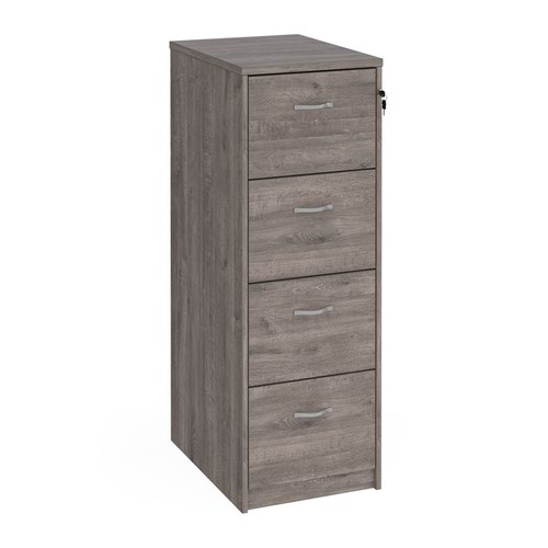 Wooden 4 drawer filing cabinet with silver handles 1360mm high - grey oak