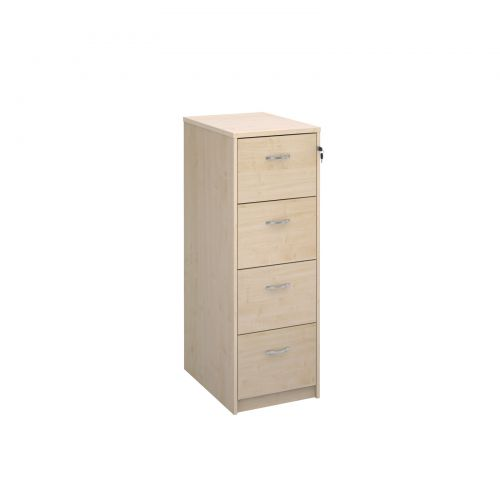 Wooden 4 drawer filing cabinet with silver handles 1360mm high - maple