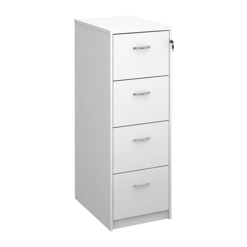 Wooden 4 drawer filing cabinet with silver handles 1360mm high - white