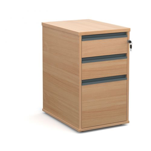 Desk high 3 drawer pedestal with graphite finger pull handles 600mm deep - beech
