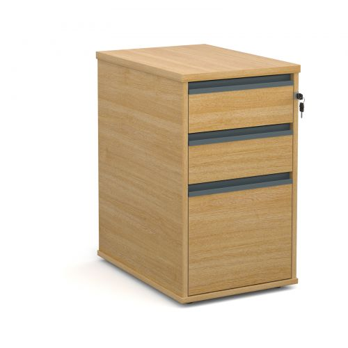 Desk high 3 drawer pedestal with graphite finger pull handles 600mm deep - oak