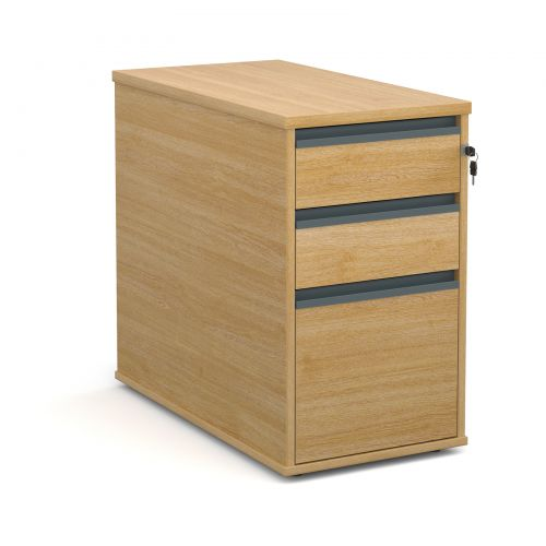 Desk high 3 drawer pedestal with graphite finger pull handles 800mm deep - oak
