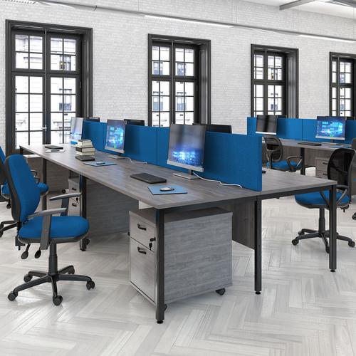 Maestro 25 back to back straight desks 1000mm x 1200mm - black bench leg frame and grey oak top | MB1012BKGO | Dams International