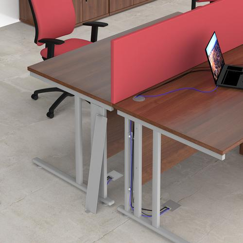 Maestro 25 straight desk 1200mm x 600mm with 2 drawer pedestal - silver cable managed leg frame and beech top Office Desks MCM612P2SB