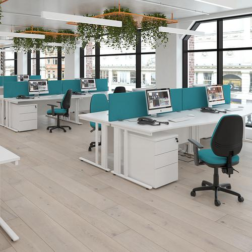 Maestro 25 straight desk 1000mm x 800mm - white cable managed leg frame and beech top Office Desks MCM10WHB