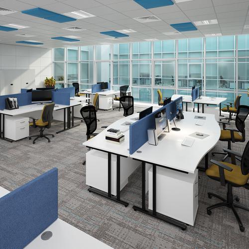 Maestro 25 straight desk 1800mm x 800mm with 3 drawer pedestal - black cantilever leg frame and walnut top Office Desks MC18P3KW