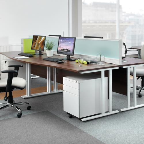 Maestro 25 straight desk 800mm x 800mm - white cantilever leg frame and walnut top Office Desks MC8WHW