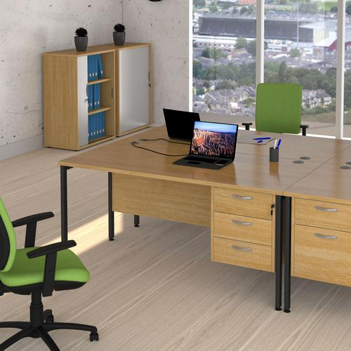 Maestro 25 straight desk 1600mm x 800mm with two x 2 drawer pedestals - black H-frame leg and beech top Office Desks MH16P22KB