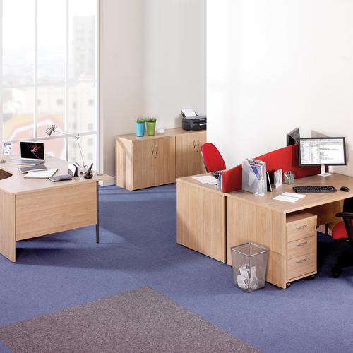Maestro 25 straight desk 1200mm x 600mm with 2 drawer pedestal - oak top with panel end leg Office Desks MP612P2O