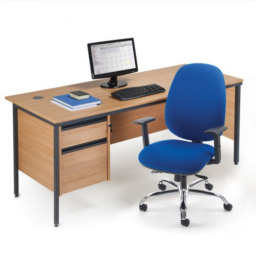 Maestro H Frame Straight Desk With Side Panels 1228mm Beech
