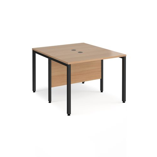 Maestro 25 back to back straight desks 1000mm x 1200mm - black bench leg frame and beech top